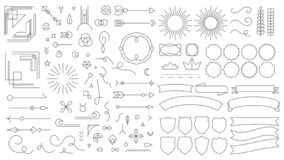 Retro elementen van het lijnembleem De uitstekende decoratieve tekeningskentekens, oude stijl voerden verdelers en van kadergrenz vector illustratie