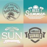 Retro elementen voor de Zomer kalligrafische ontwerpen | Uitstekende ornamenten | Allen voor de Zomervakantie | tropisch paradijs Stock Foto