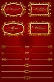 Retro elementi decorativi rossi reali II Fotografia Stock Libera da Diritti