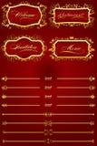 Retro elementi decorativi rossi reali IV Fotografia Stock Libera da Diritti