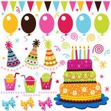 Retro elementi di celebrazione di compleanno Fotografia Stock