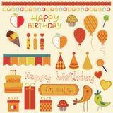 Retro elementi di disegno di celebrazione di compleanno Fotografia Stock