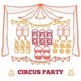 Retro elementi di idee del partito del circo Fotografia Stock