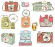 Retro elementi disegnati a mano di progettazione della macchina fotografica royalty illustrazione gratis