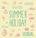 Retro elements for Summer calligraphic designs Royalty Free Stock Image