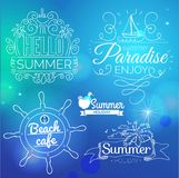 Retro elements for Summer calligraphic designs Stock Images
