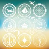 Retro elements for Summer designs. Vintage stamps. Vintage air and cruise tours labels and badges Royalty Free Stock Photography