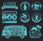 Retro elements for Summer surfing designs Stock Photo