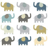 Retro Elephant pattern Stock Photos