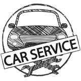 Retro embleem van de autodienst in krabbelstijl Royalty-vrije Stock Afbeeldingen