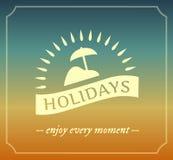 Retro embleem van de de zomervakantie met kader Stock Afbeelding
