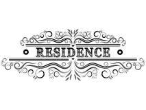 Retro- Emblem des Wohnsitzes Dekoratives Element der Weinlese stock abbildung