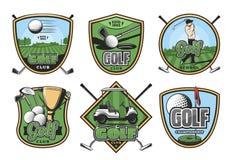Retro emblem för golfsport med klubban, bollen och golfaren vektor illustrationer