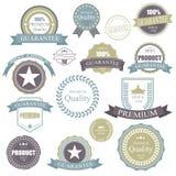 Retro emblem för tappning Högvärdig kvalitets- etikettram för beståndsdelar Emblem- och symbolsuppsättning royaltyfri illustrationer