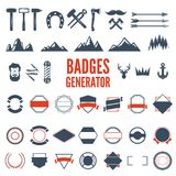Retro Emblem Generator is set of icons, badges, ribbons and other useful design elements for retro emblem. Vector art. Royalty Free Stock Photography
