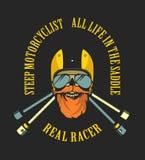 Retro emblem motorcyclist Stock Images