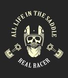 Retro emblem motorcyclist Royalty Free Stock Images