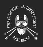 Retro emblem motorcyclist Stock Photos