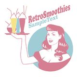 Retro emblem of pinup girl carrying a tray with smoothies, ice cream or frozen yogurt royalty free illustration