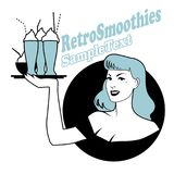 Retro emblem of pinup girl carrying a tray with smoothies, ice cream or frozen yogurt Royalty Free Stock Images