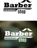 Retro emblema del negozio di barbiere illustrazione di stock
