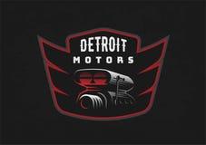 Retro emblema dell'automobile sul fondo scuro di lerciume Fotografia Stock