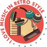 Retro emblema di musica Fotografia Stock Libera da Diritti
