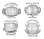 Retro emblemi del barilotto illustrazione di stock