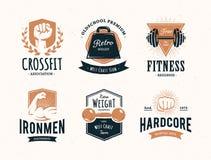Retro emblemi di forma fisica illustrazione di stock