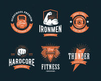Retro emblemi di forma fisica Immagine Stock Libera da Diritti