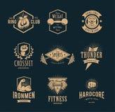Retro emblemi di forma fisica Fotografia Stock Libera da Diritti