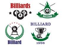 Retro emblemi per il biliardo con le stecche e le palle Fotografia Stock Libera da Diritti