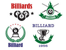 Retro emblems for billiards with cues and balls Royalty Free Stock Photography