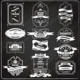 Retro emblems set chalk blackboard Royalty Free Stock Photography