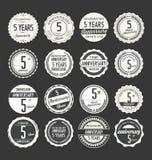Retro emblemsamling för årsdag, 5 år Royaltyfri Foto