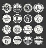 Retro emblemsamling för årsdag, 15 år Arkivfoton