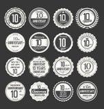 Retro emblemsamling för årsdag, 10 år Arkivbild
