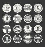 Retro emblemsamling för årsdag, 10 år Royaltyfri Fotografi