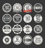 Retro emblemsamling för årsdag, 90 år Arkivbild