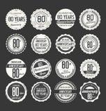 Retro emblemsamling för årsdag, 80 år Royaltyfri Foto