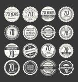 Retro emblemsamling för årsdag, 70 år Arkivbild