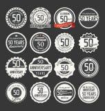 Retro emblemsamling för årsdag, 50 år Royaltyfri Fotografi
