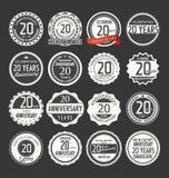 Retro emblemsamling för årsdag, 20 år Royaltyfri Foto