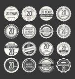 Retro emblemsamling för årsdag, 20 år Arkivbilder