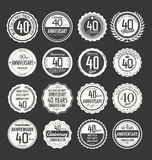 Retro emblemsamling för årsdag, 40 år Arkivbilder