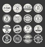 Retro emblemsamling för årsdag, 25 år Arkivfoton