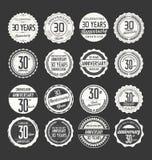 Retro emblemsamling för årsdag, 30 år Arkivbilder