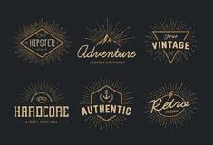 Retro emblemuppsättning stock illustrationer