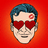 Retro Emoji lover man face Stock Photography