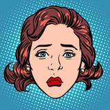 Retro Emoji sadness woman face Stock Image